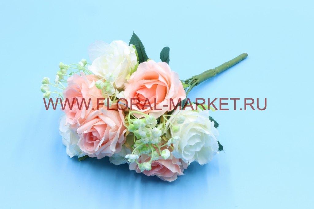 Б6263 Букет роза с доб.гипсоф.9г.h=30см.