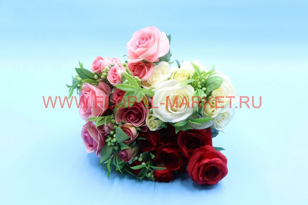 "Б6229 Букет роза с доб.бут.""Эфиопия"" 7г+3б. h-47см"