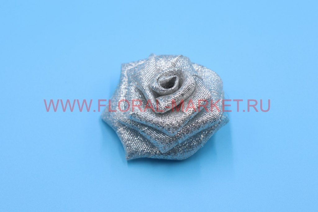 Розочка золото/серебро тканевая плоская 5см