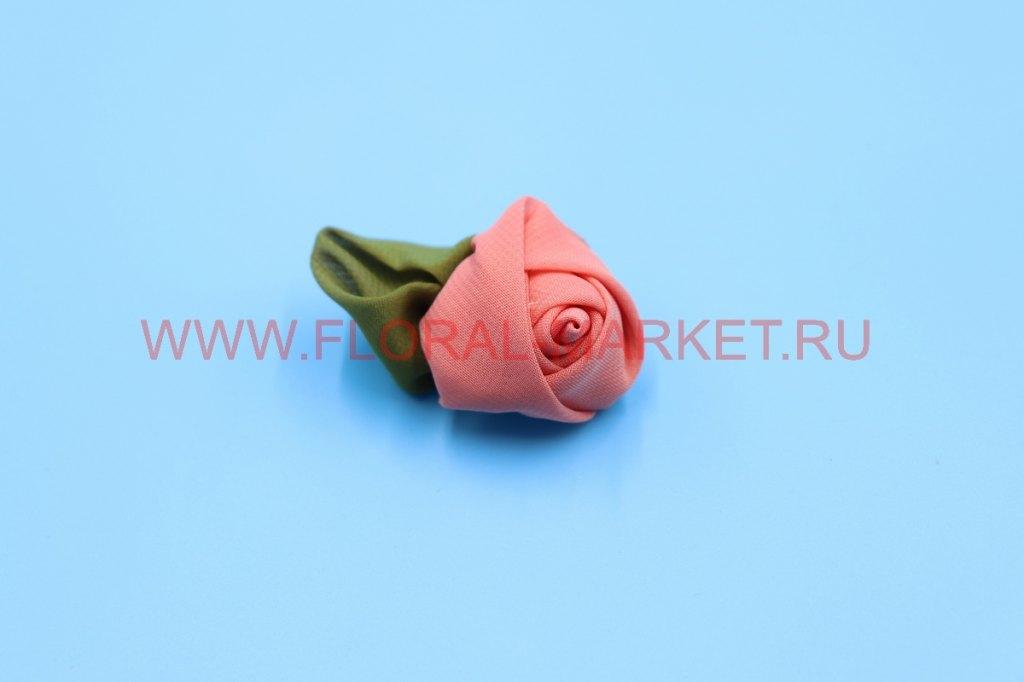 Роза №15 средняя с листом (шифон)
