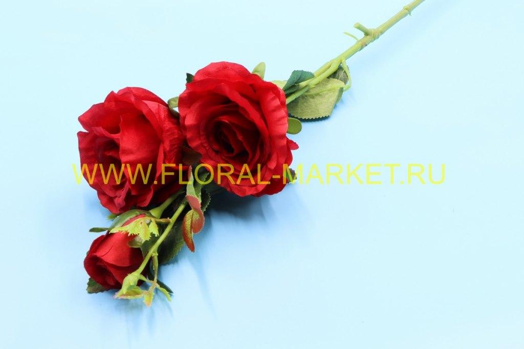 В758 Ветка розы 3 гол.h=78см.