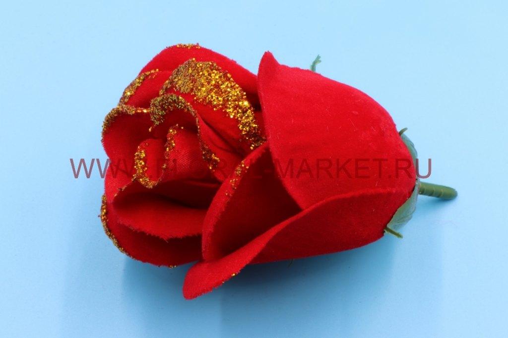 Г2025 Голова роза бутон бархатный с золотом d=8см.