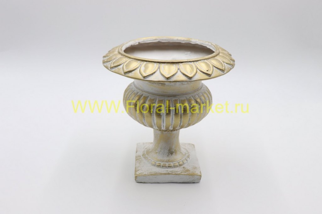 Ваза чаша богатства белая/бронза Н=21см, L=14см.