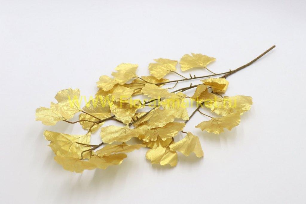 В2386 Ветка Гинкго Билоба золот.в-65 см.