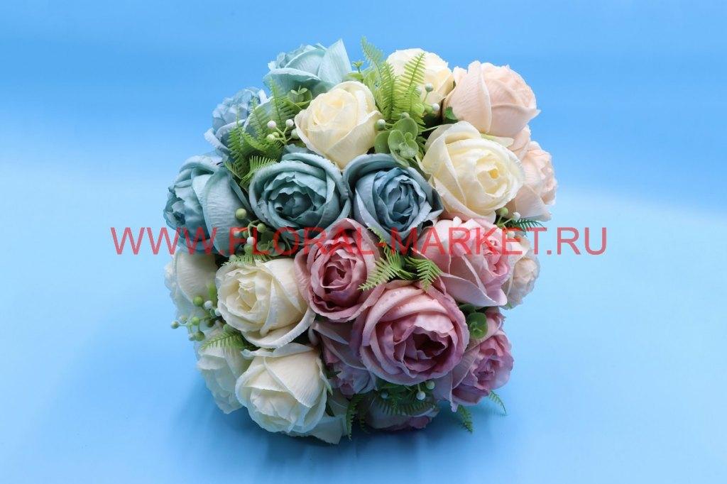 Б6212 Букет пионовидная роза с доб.6г.+3в.h=50см.