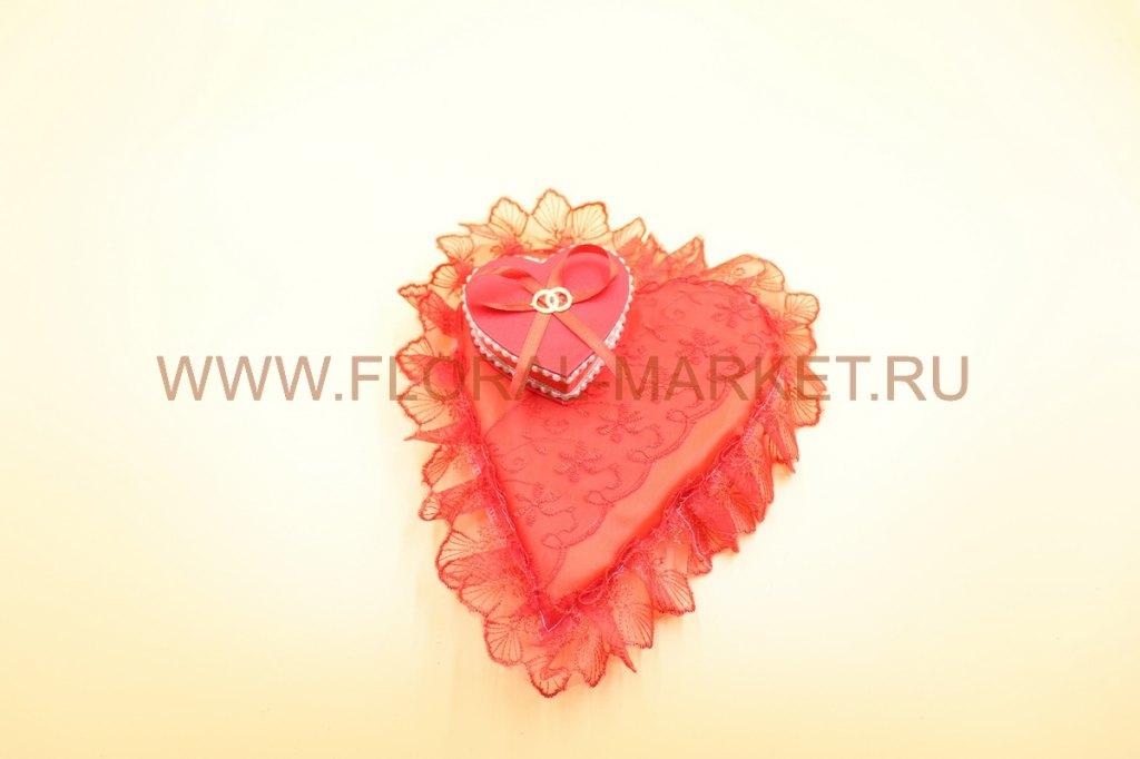 Подушечка для колец с коробочкой сердце/прямоуголь