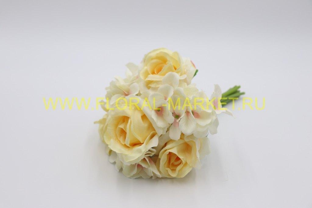Б1034 Букет связка роза+горт.7в.h=34см.