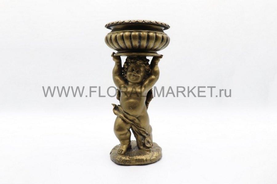 Ваза фигура ангел с чашей стоит бронзаН=39см.